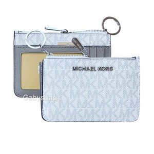 👛💕Michael Kors Top Zip Coin ID Holder White Gray